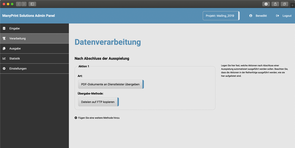 Screenshot der ManyPrint-Solutions-Anwendung
